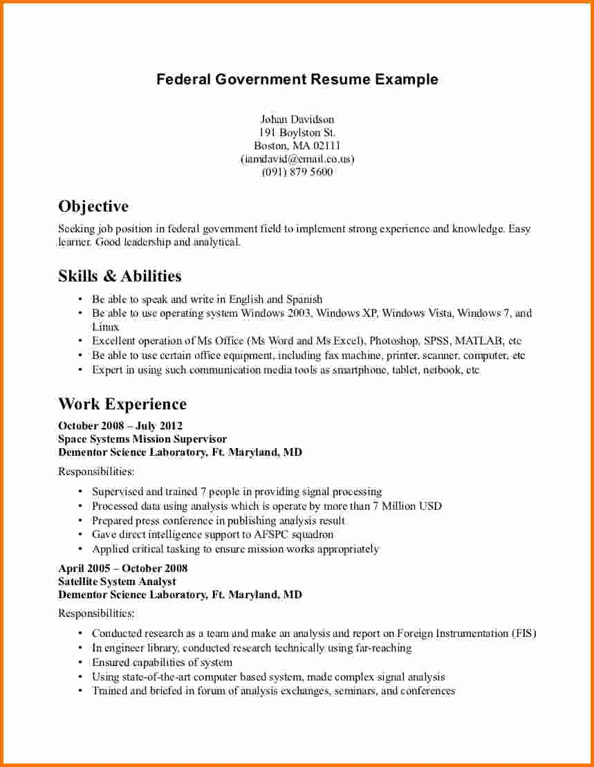 6 Federal Job Resume Examples