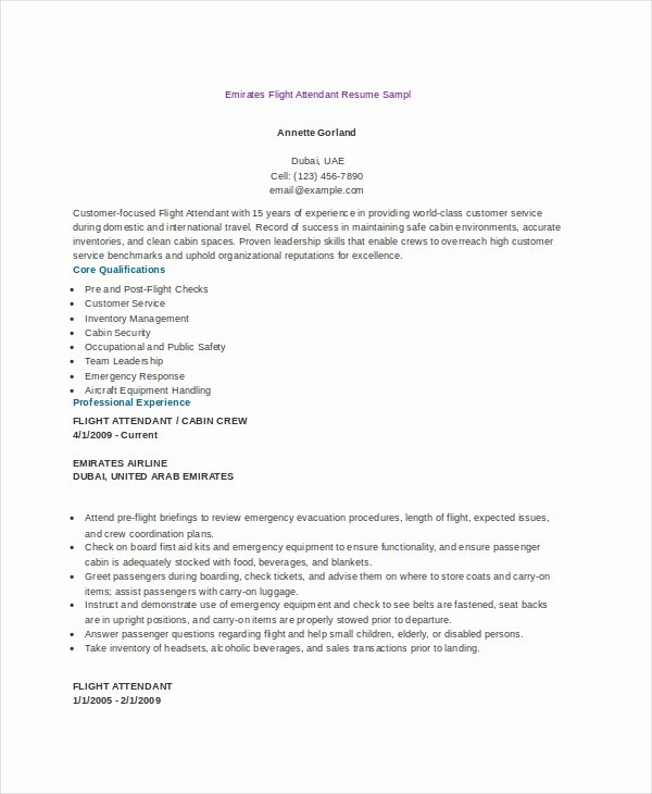 6 Flight attendant Resume Templates Pdf Doc