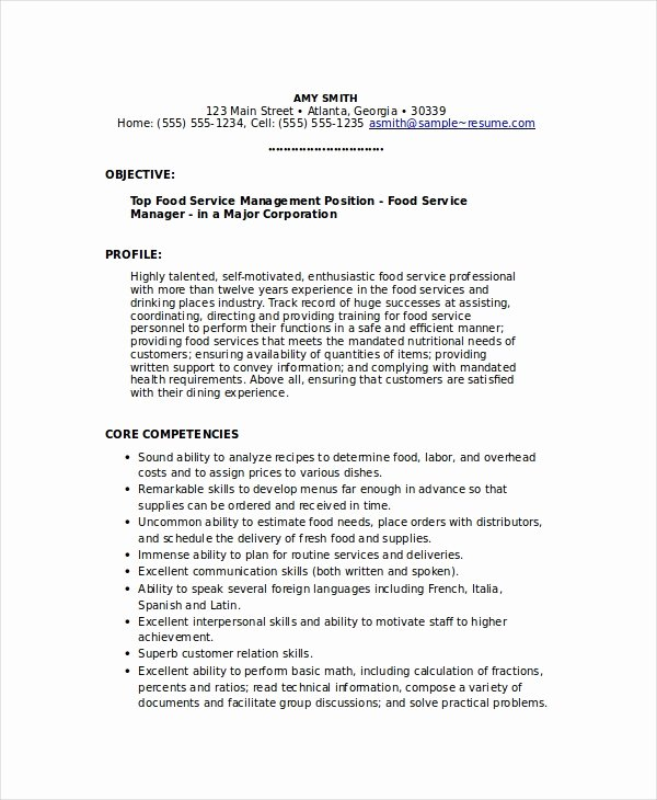 6 Food Service Resume Templates Pdf Doc