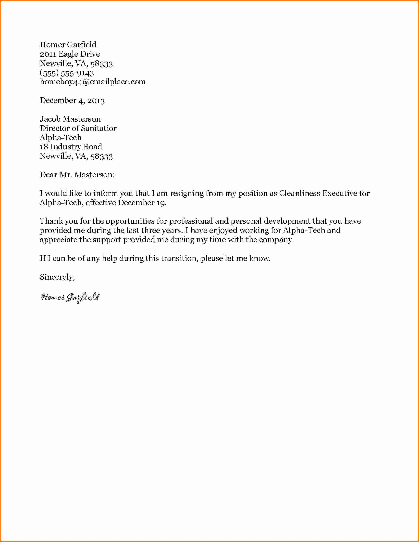 6 formal Letter Of Resignation