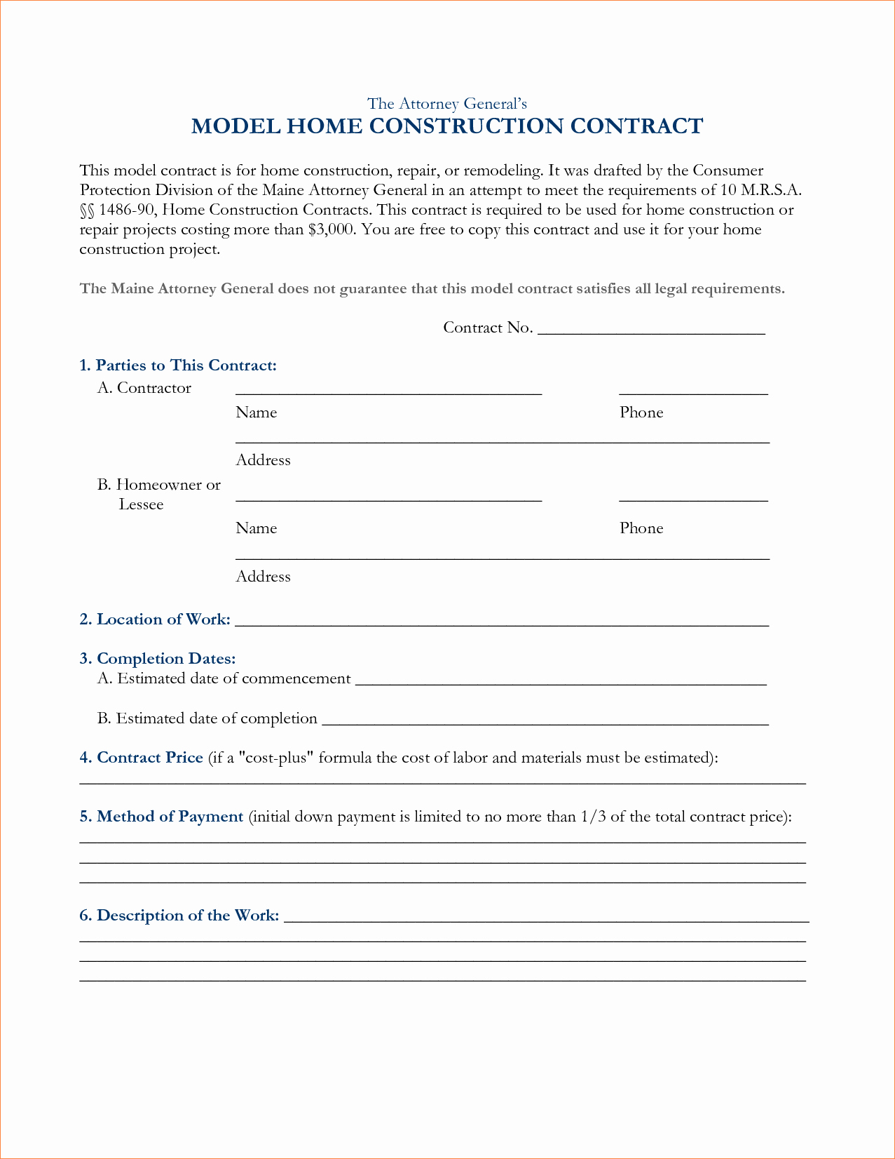 6 Free Construction Contracts Templatesreport Template