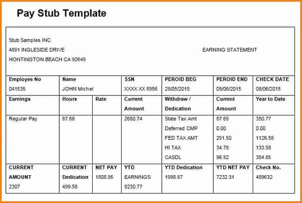 6 Free Editable Pay Stub Template