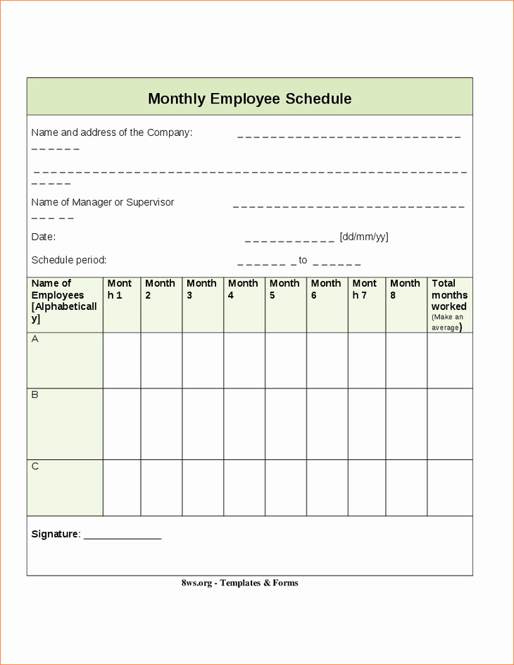 6 free employee schedule template