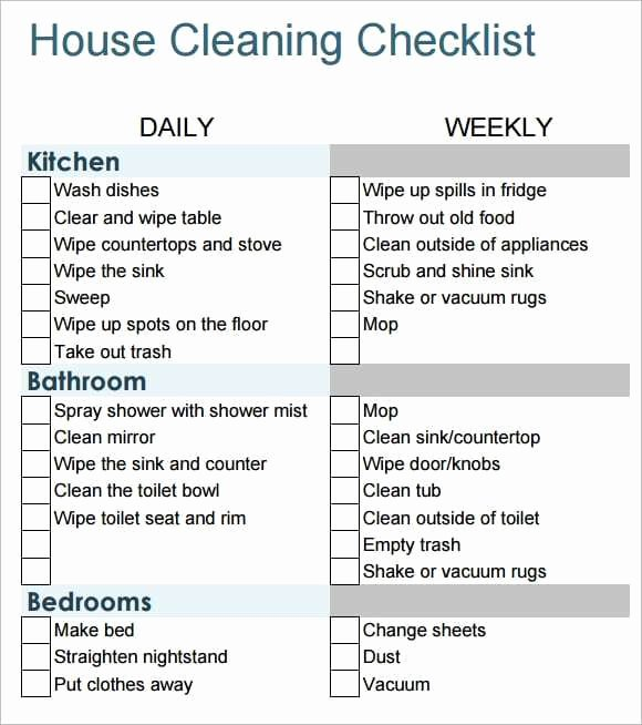 6 Free House Cleaning List Templates Excel Pdf formats