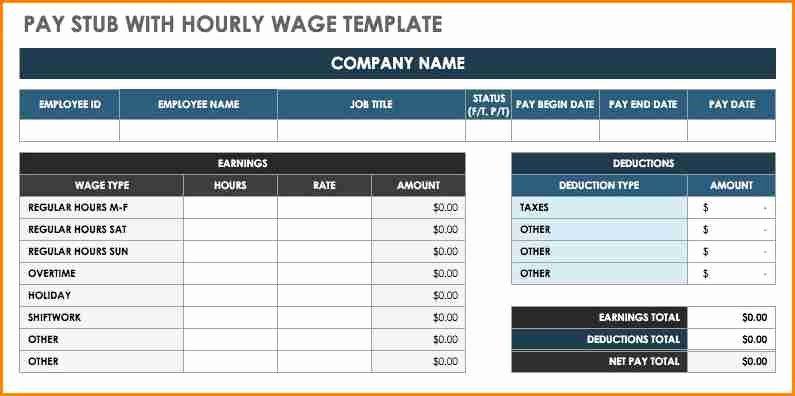 6 Free Pay Stub Template Excel