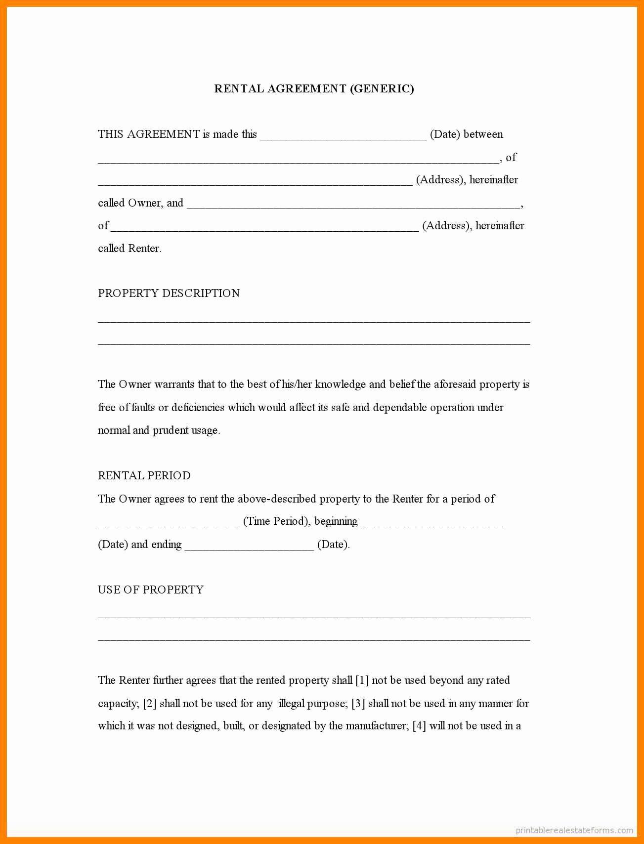 6 Free Printable Rental Lease Agreement