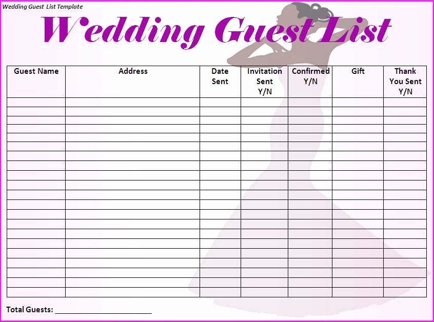 6 Free Wedding Guest List Templates Excel Pdf formats