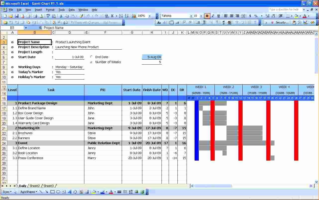 6 Gantt Chart Excel Template Free