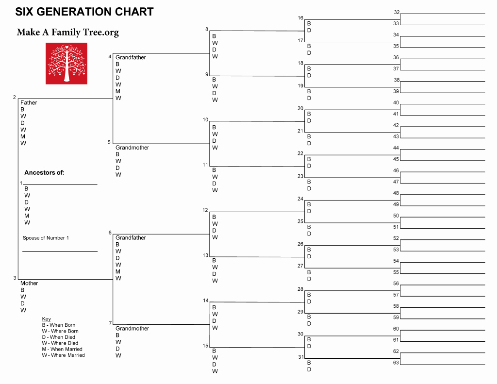 6 Generation Word Template Make A Family Tree org