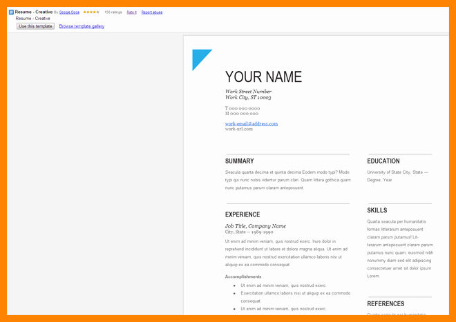6 Google Doc Resume Template Free