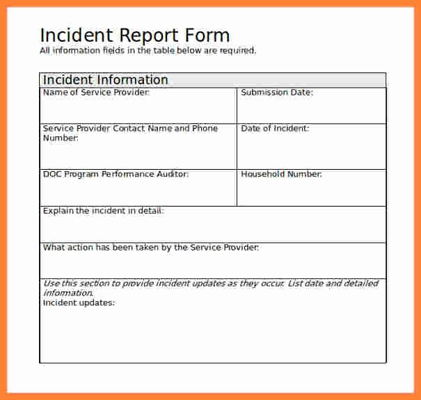 6 Incident Report Template Microsoft Word