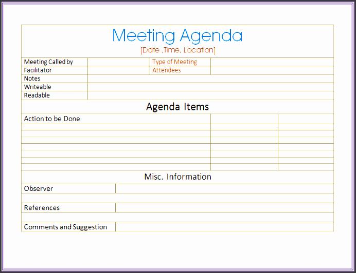 6 Informal Meeting Agenda Template Sampletemplatess