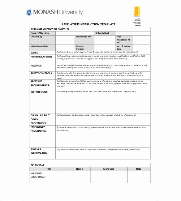6 Instruction Templates Doc Pdf Excel