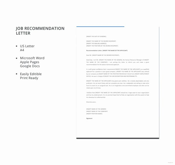 6 Job Re Mendation Letters Free Sample Example