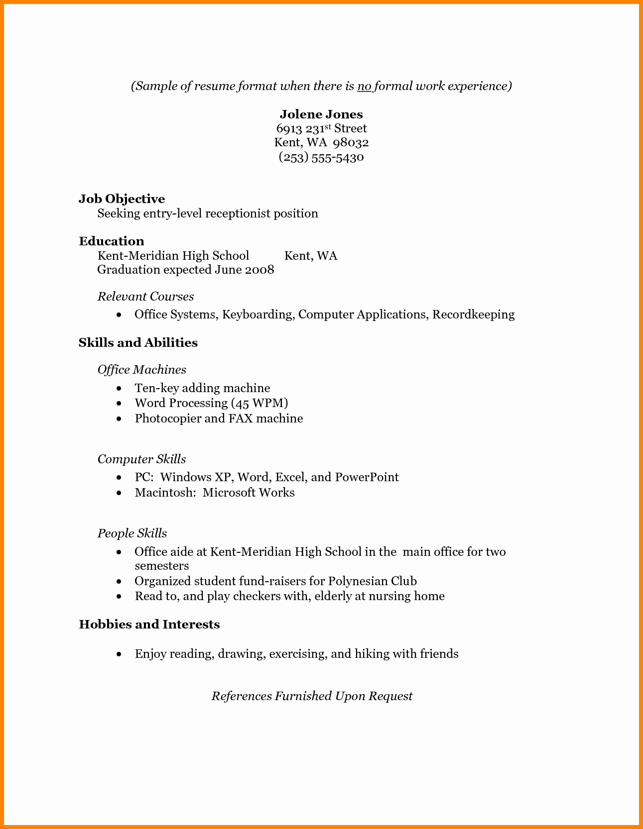 6 Job Resume Examples No Experience