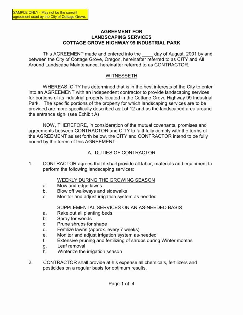 Maintenance Contract Portablegasgrillweber 6 Landscaping Services Templates Pdf