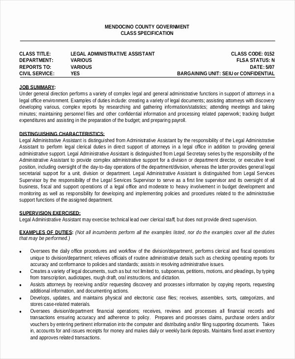 6 Legal Administrative assistant Resume Templates