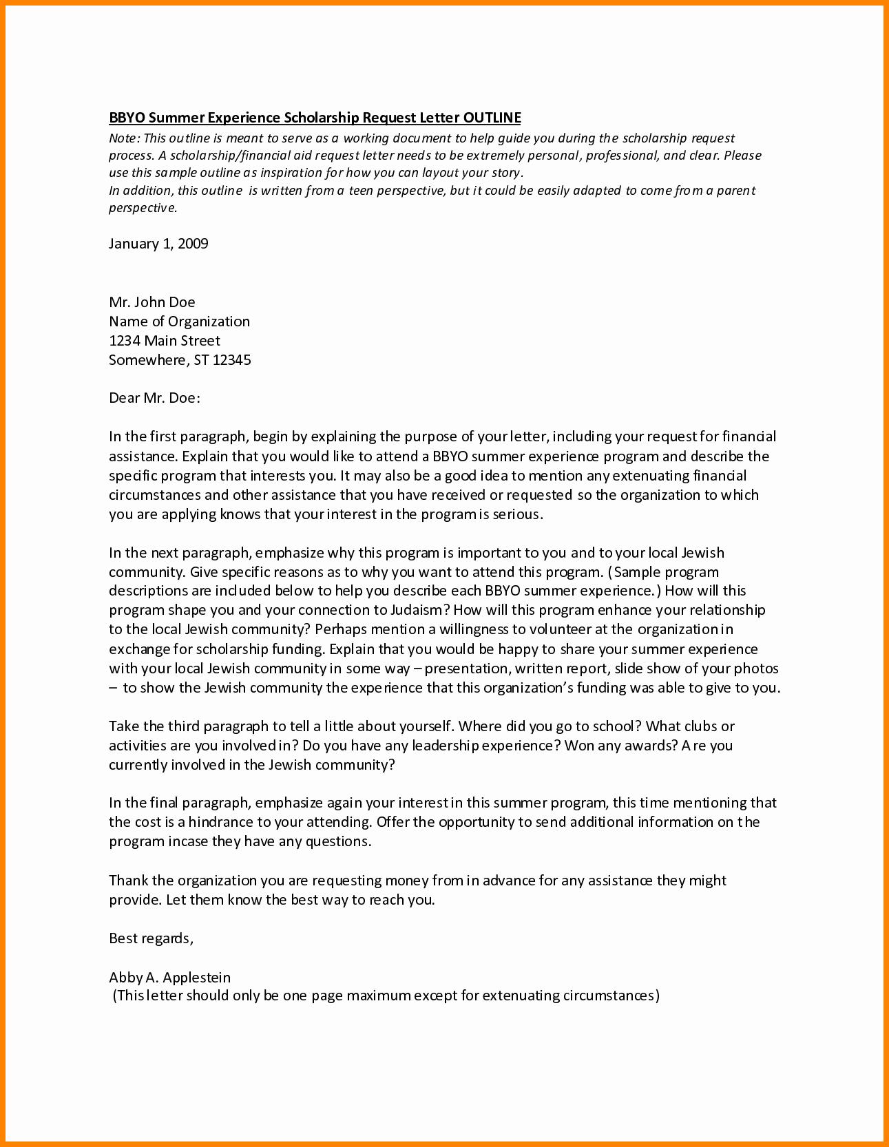6 Letter Applying for Scholarship
