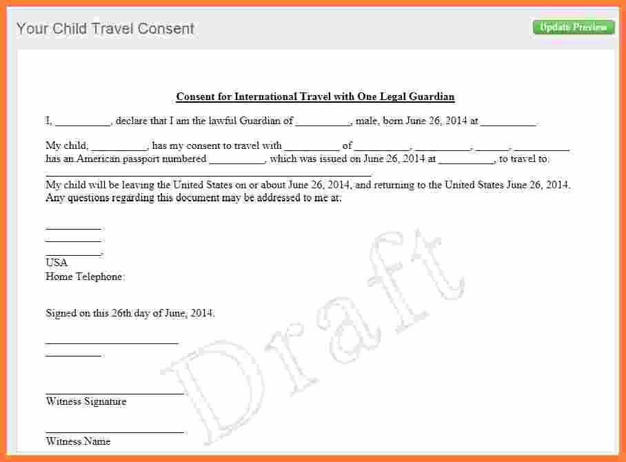 6 Letter Of Consent for Travel Of A Minor Child