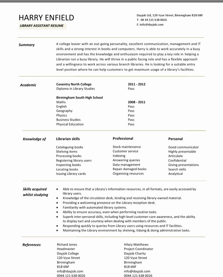 6 Librarian Resume Templates Free Download