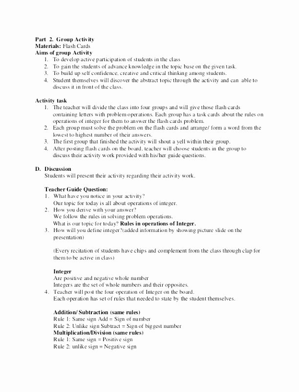 6 Middle School Math Lesson Plan Template Pueee
