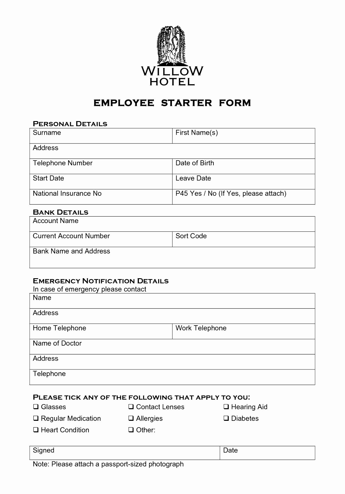 6 New Hire forms Template Euyru
