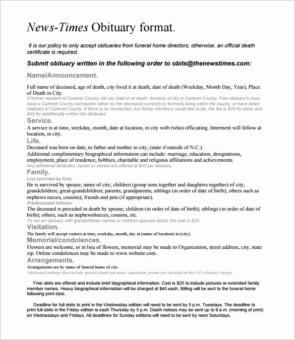 6 Newspaper Obituary Templates Doc Pdf
