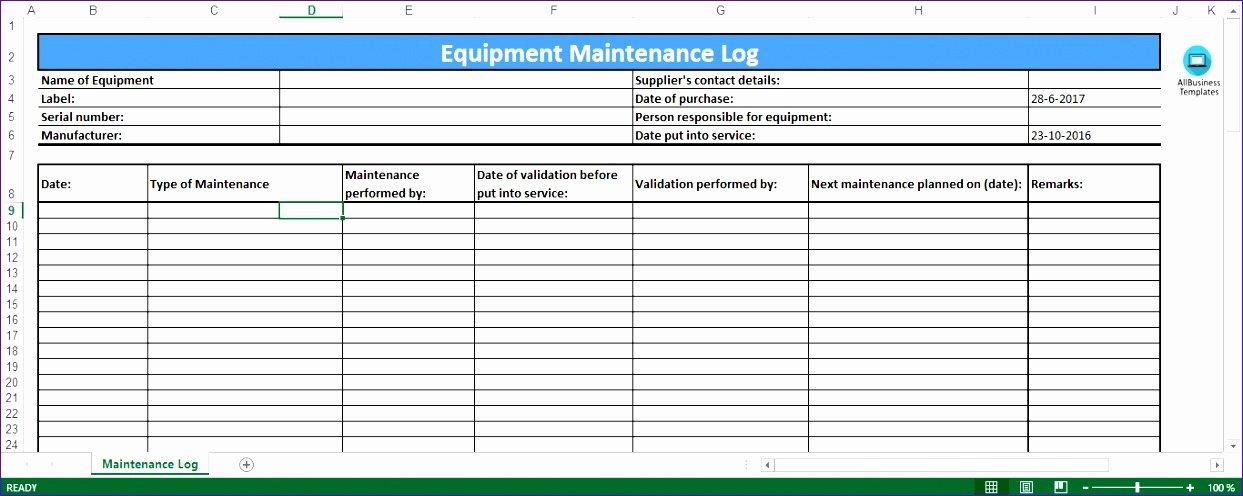 6 Preventive Maintenance Template Excel Exceltemplates