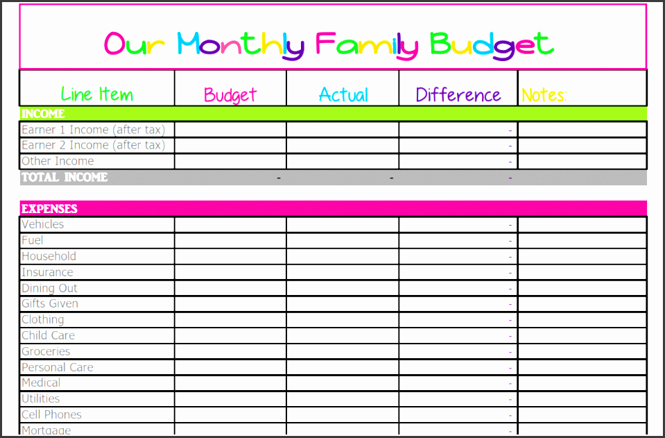 6 Printable Family Monthly Bud Planner for Free