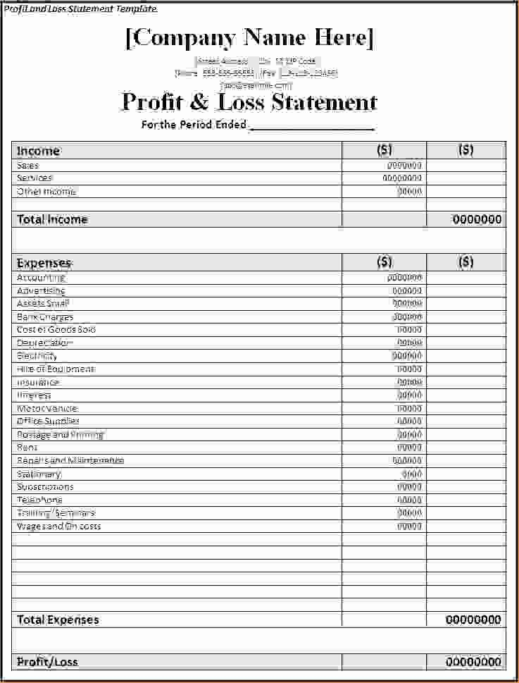 6 Profit and Loss Templates