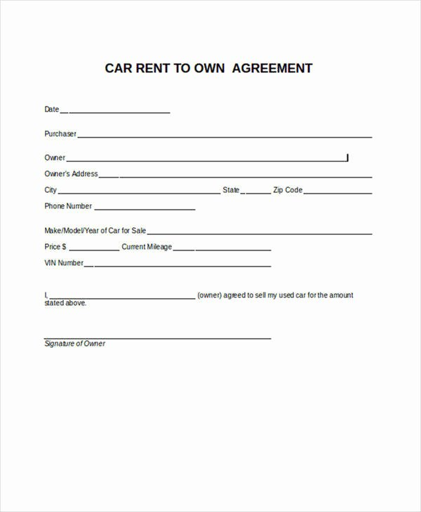 6 Rent to Own Contract Samples & Templates