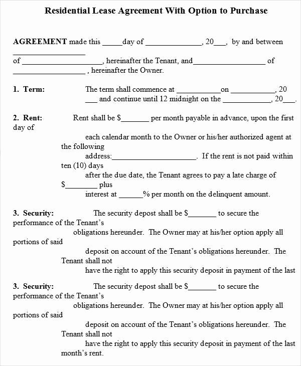 6 Rent to Own House Contract forms – Examples In Word