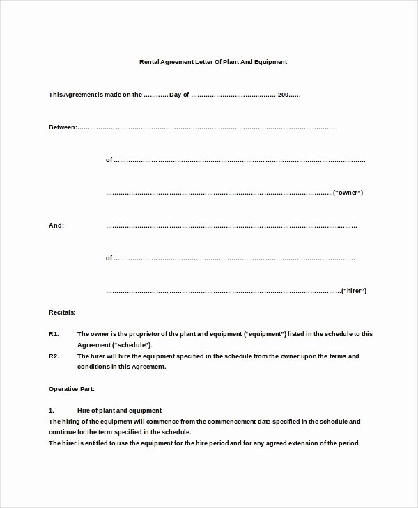 6 Rental Agreement Letter Doc Pdf