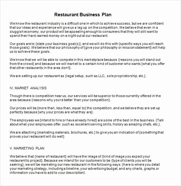 6 Restaurant Business Plan Templates Word Excel Pdf