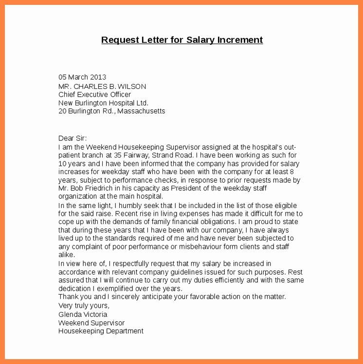 6 Salary Increase Proposal Letter