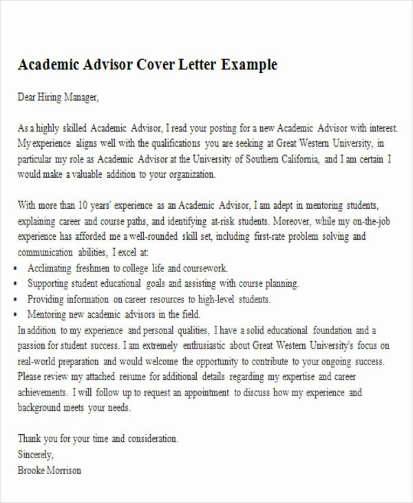 6 Sample Academic Advisor Cover Letters