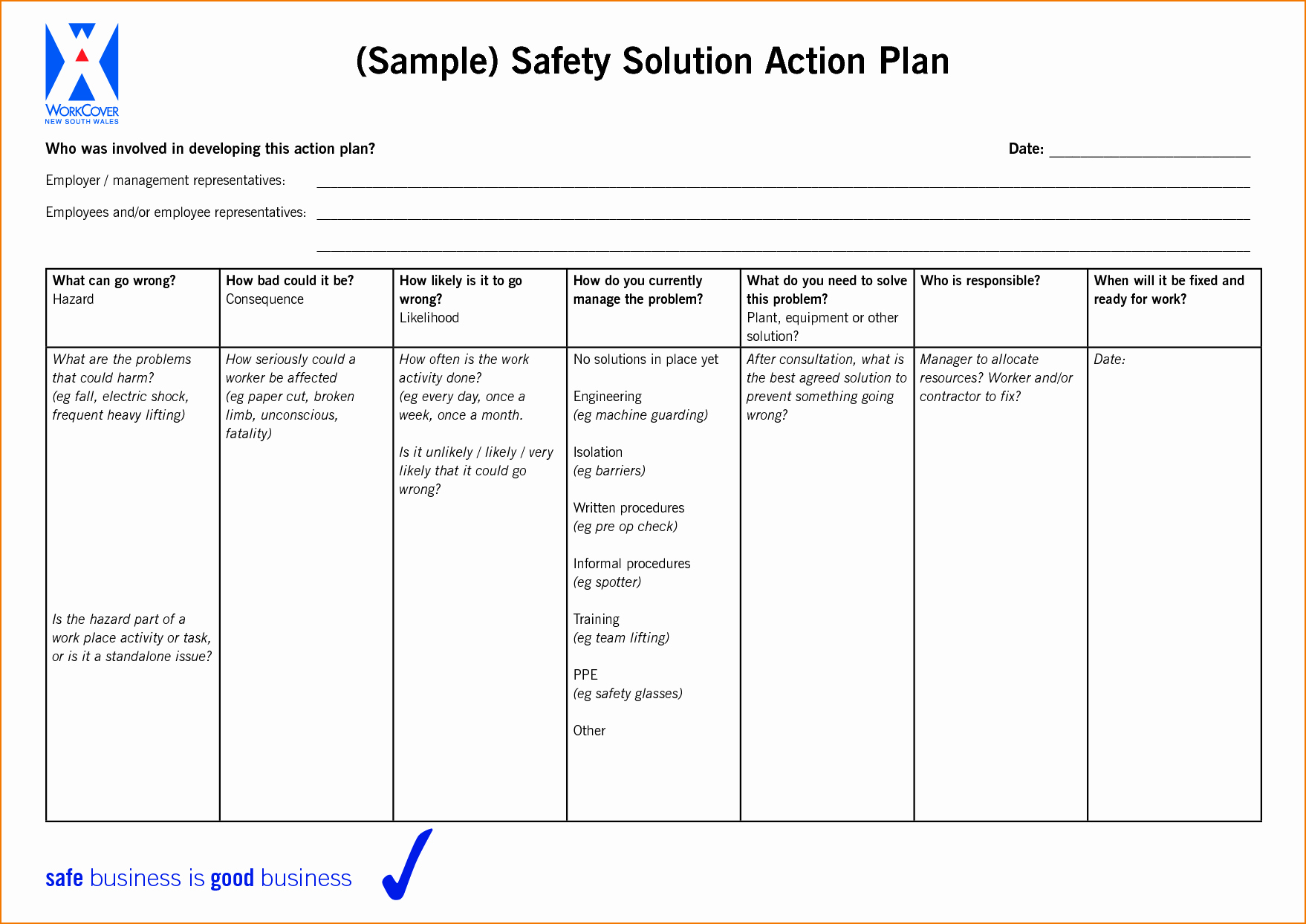 6 Sample Action Plan Template
