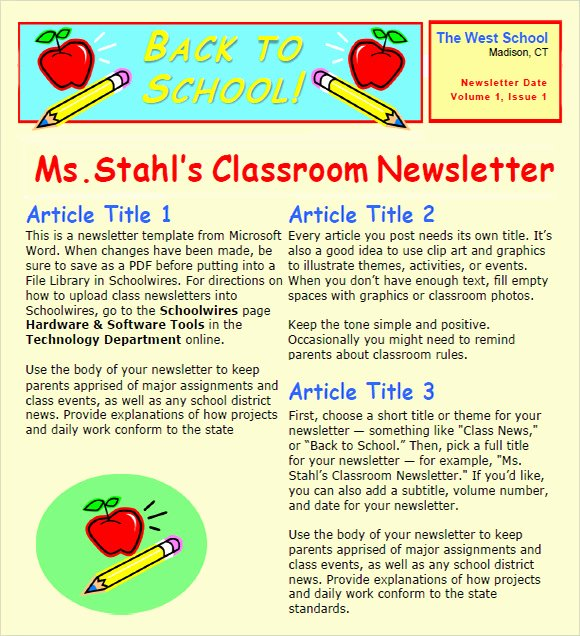 6 Sample Classroom Newsletters