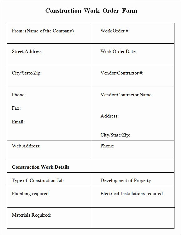 6 Sample Construction Work order forms – Pdf
