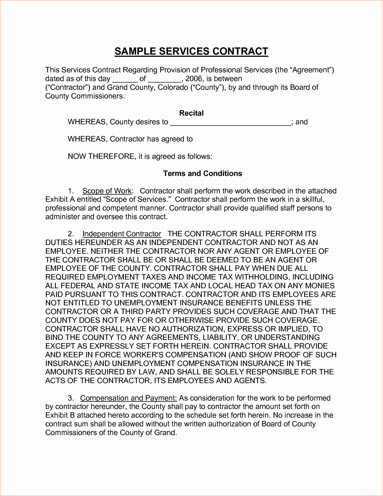 6 Sample Contract for Servicesreport Template Document