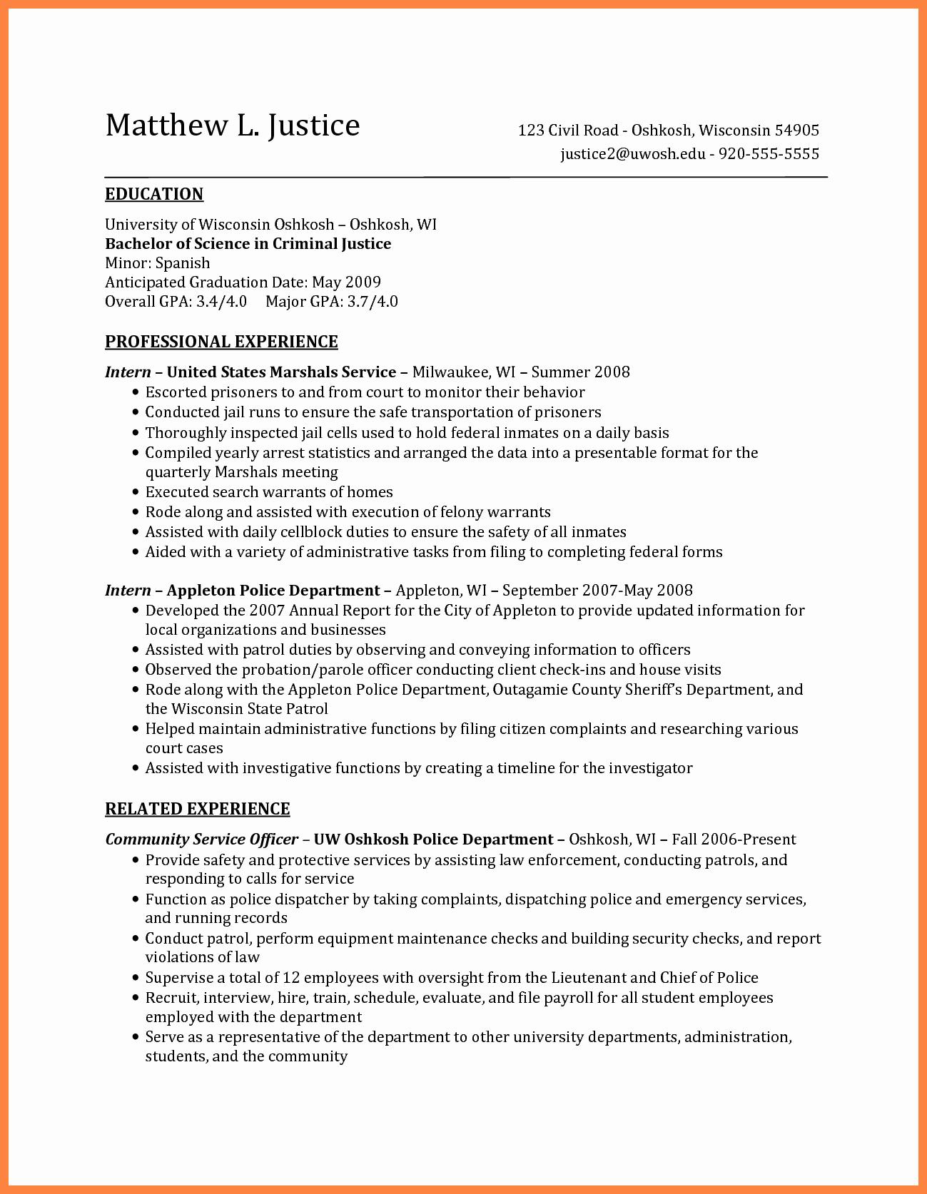 6 Sample Criminal Justice Resume