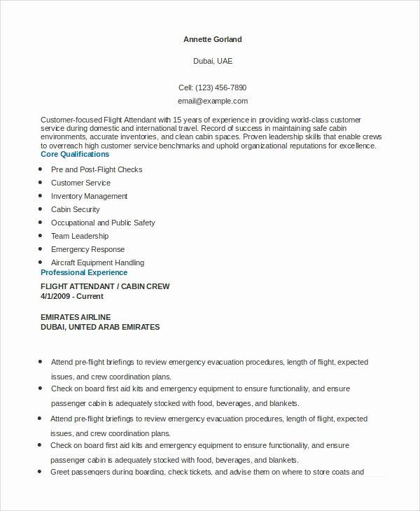 6 Sample Flight attendant Resumes