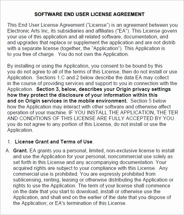 6 Sample Free End User License Agreement Templates