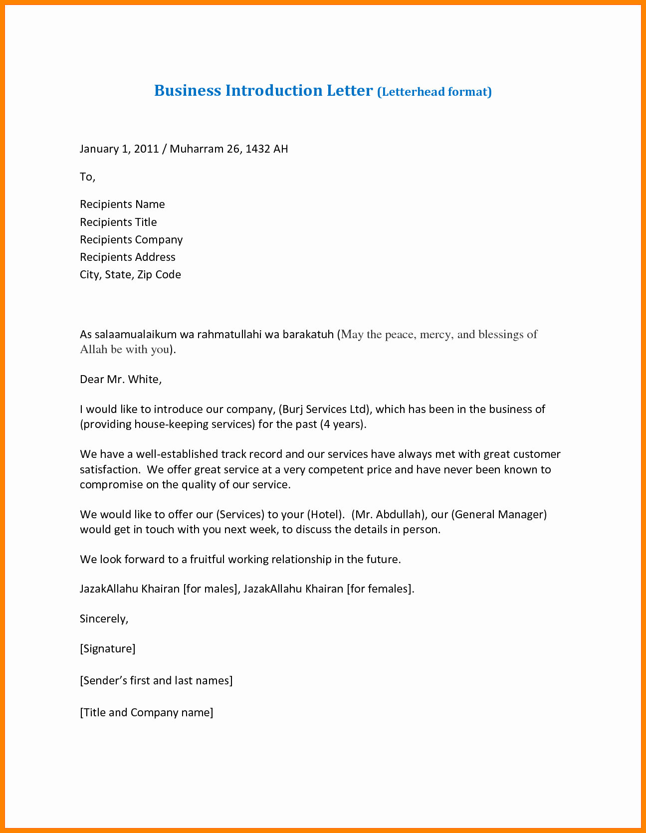 6 sample introduction letter for new business