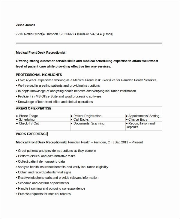 6 Sample Medical Receptionist Resumes