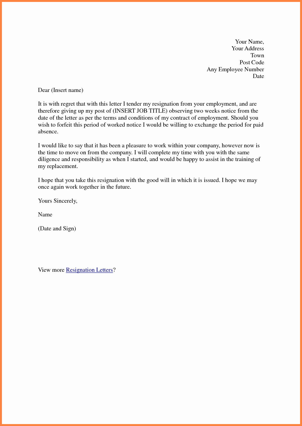 6 Sample Of Resignation Letter Two Weeks Notice