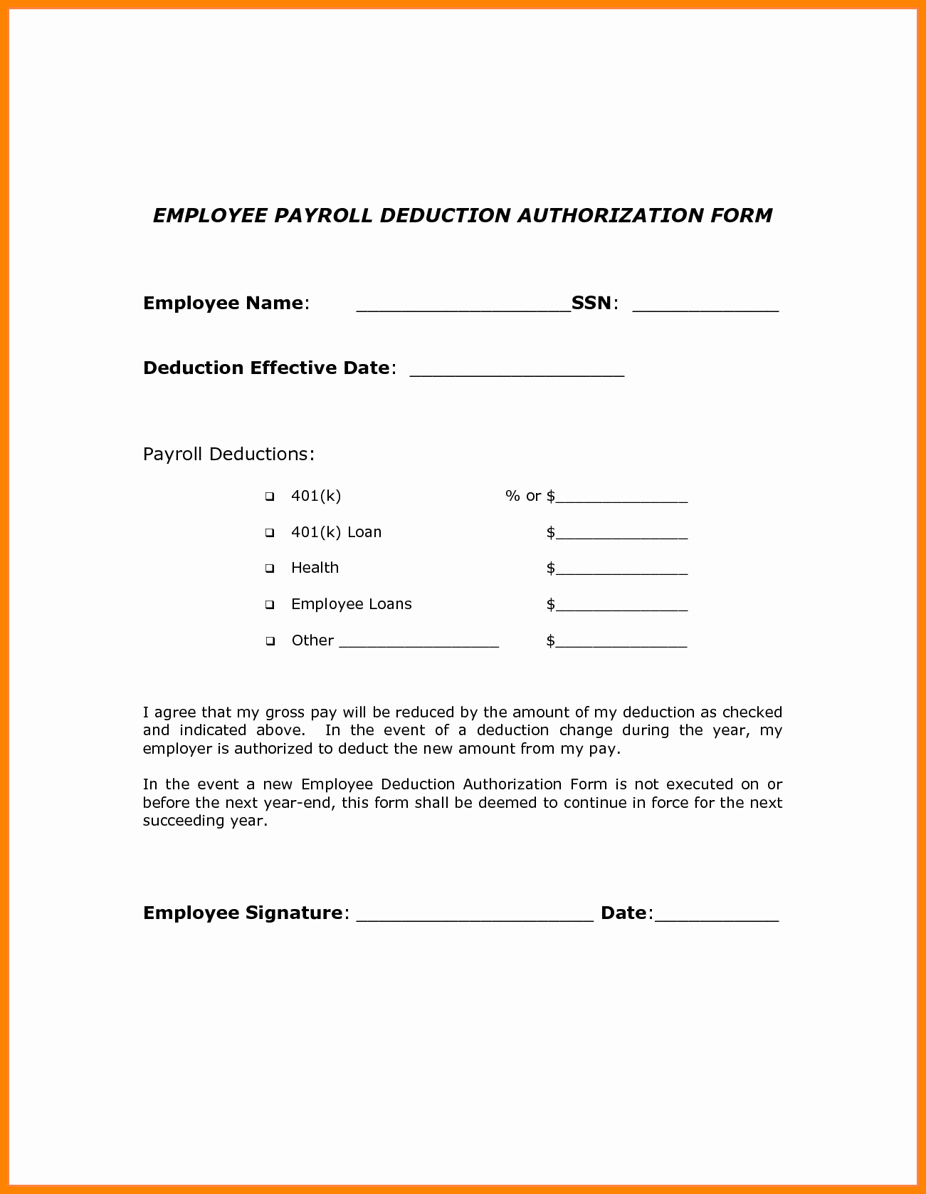 6 Sample Payroll Deduction forms