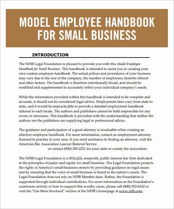 6 Sample Printable Employee Handbook Templates