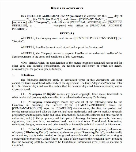 6 Sample Reseller Agreements