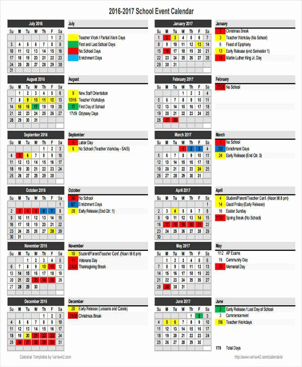 6 School Calendar Templates – Examples In Word Pdf